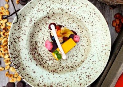 Dýňový cake, skořicové mascarpone, čokoládovo-mandlová sušenka (1,3,7,8)
