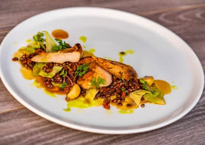 Pheasant breast sous-vide, green lentils, cabbage, bacon jus(7,9)