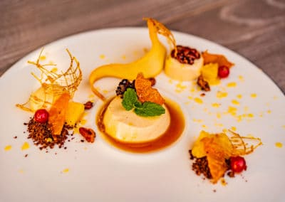 Gingerbread cream, sweet nuts, marinated citrus fruits(7,8)