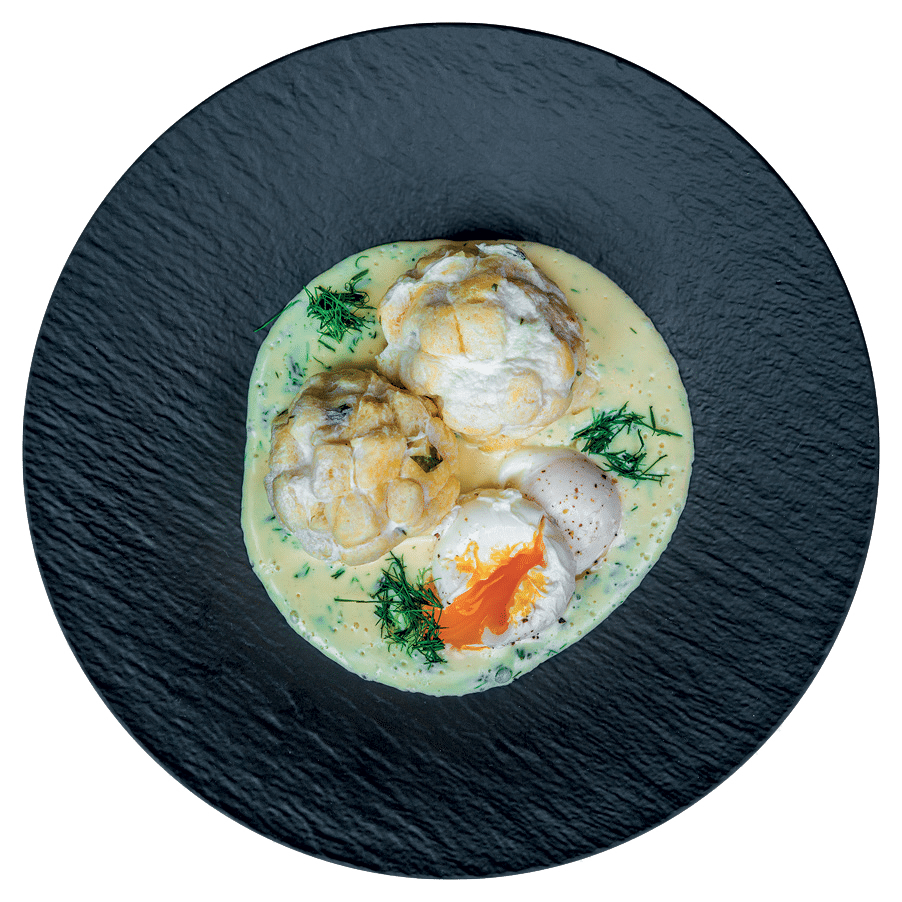 Koprové velouté, pošírované vejce, karlovarský knedlík (3, 7, 9, 12)                           189 Kč