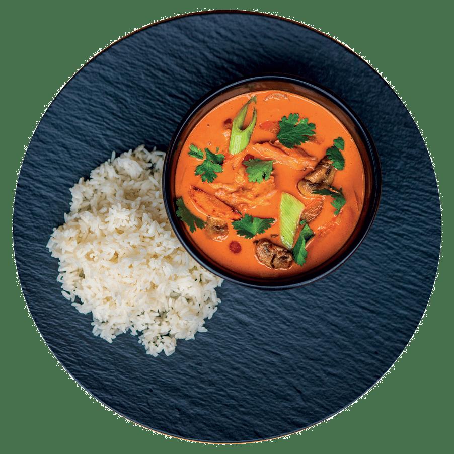 Pikantní thajské kuře NA CURRY, jasmínová rýže (7)                                      269 Kč
